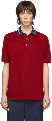 Gucci Red Embroidered Collar Polo