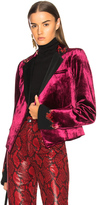 Haider Ackermann Embroidered Short Blazer in Pink.