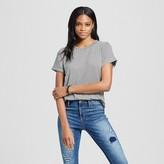 Mossimo Women's Striped Roll Cuff T-Shirt Black & Cream