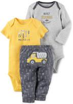 Carter's 3-Pc. Cotton Built Tough Construction Bodysuits and Pants Set, Baby Boys (0-24 months)