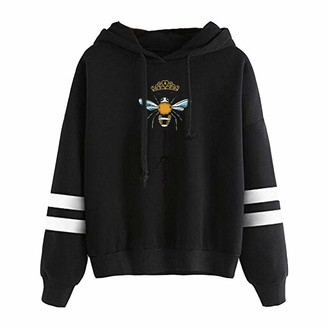 kolila Womens Long Sleeve Sweatshirts T-Shirts Bee Kind Bee Graphic Print Shirt Pullover Fleece Hoodie Sweatshirt Tops(001Black M)