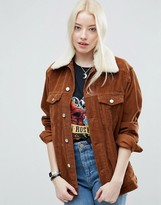 Asos Cord Girlfriend Jacket in Tan With Detachable Fleece Collar