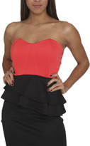 Arden B Colorblock Peplum Tube Top