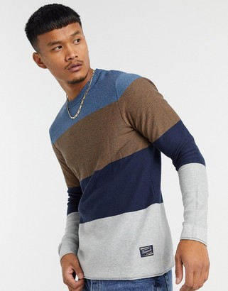 Jack and Jones Originals sweater in color block in blue tan & gray