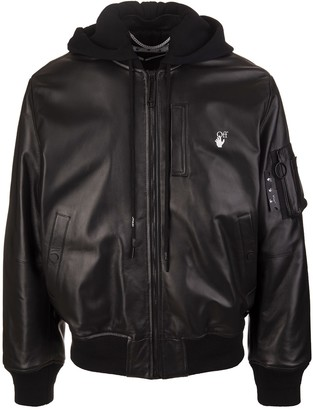Off-White Man Bomber Jacket In Black Leather With Hood