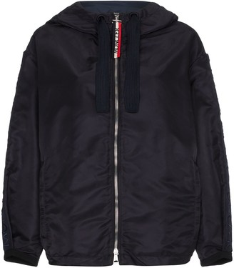 Moncler logo-sleeve hooded jacket