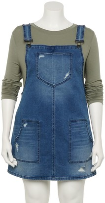 So Juniors' Plus Size Pinafore Mini Dress