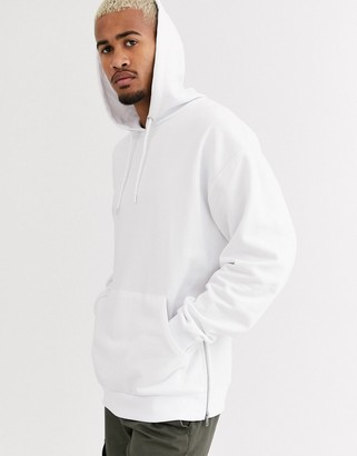 Asos Design DESIGN oversized hoodie with silver side zips in white