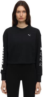 Puma Select Rebel Cropped Cotton Blend Sweatshirt