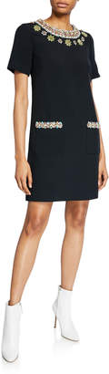 Andrew Gn Floral-Jeweled Short-Sleeve Dress