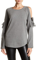 Cable & Gauge Cold Shoulder Bow Sweatshirt