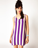 House of Holland Baller Dress in Purple Stripe