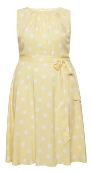 Dorothy Perkins Womens Billie & Blossom Curve Yellow And White Spot Print Skater Dress, Yellow