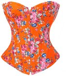 Bslingerie Womens Red Floral Denim Boned Bustier Corset Size: M