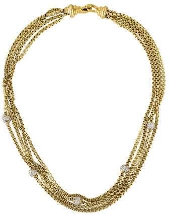 David Yurman 18K Diamond Pavé Ball 4 Row Necklace