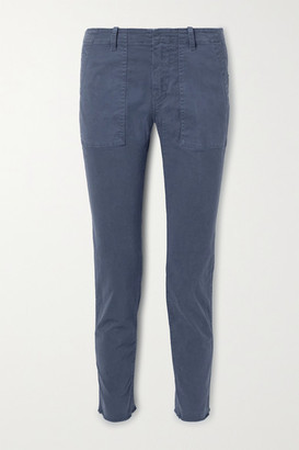 Nili Lotan Jenna Cropped Frayed Cotton-blend Twill Slim-leg Pants - Navy