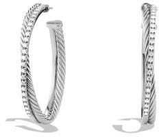 David Yurman Crossover Extra-Large Hoop Earrings With Diamonds