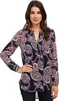 Lucky Brand Women's Paisley Pleated Tunic Shirt