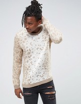 Asos Sweater with All Over Leopard Design in Soft Yarn