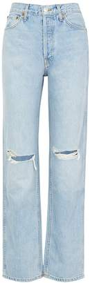 RE/DONE Light Blue Distressed Straight-leg Jeans