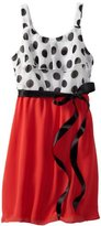 Ruby Rox Girls 7-16 Dot Top Popover Dress