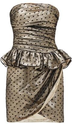 Dundas Fil-coupe Ruffled Silk-blend Mini Dress - Gold