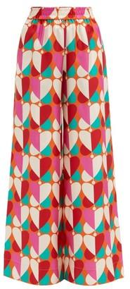 La DoubleJ Palazzo Geometric-print Silk Trousers - Pink Print