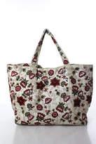 Moyna Beige Satin Floral Embroidered Mini Tote Handbag