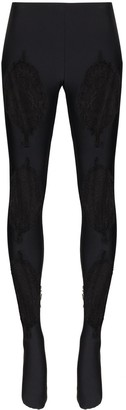 Versace Lace-Panelled Leggings