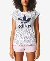 adidas Cotton Printed Roll-Sleeve Boyfriend T-Shirt