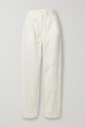 Nili Lotan Cyro Stretch-cotton Tapered Pants - Ivory