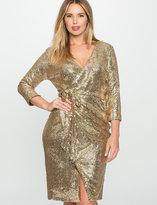 ELOQUII Plus Size Long Sleeve Sequin Wrap Dress