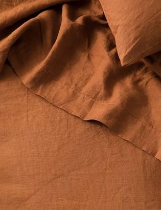 Lulu & Georgia Cultiver Linen Bedding, Cedar Flat Sheet