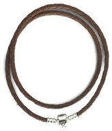 Pandora 38cm Brown Double Braided Leather Bracelet 590705cbn-d2