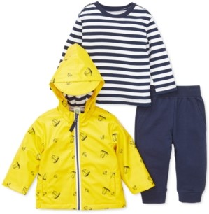 Little Me Baby Boys 3-Pc. Hooded Sailboat-Print Jacket, Striped Top & Jogger Pants Set