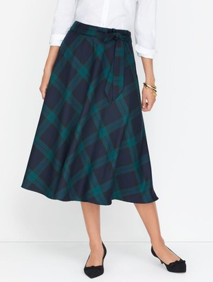 Talbots Dashing Plaid Tie Waist Midi Skirt