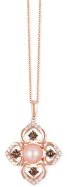 LeVian Le Vian Chocolatier Pink Freshwater Pearl (8mm) and Diamond (3/4 ct. t.w.) Flower Pendant Necklace in 14k Rose Gold