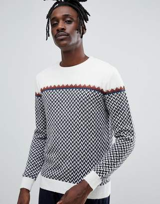 Antony Morato knitted sweater in cream with zigzag in alpaca Blend