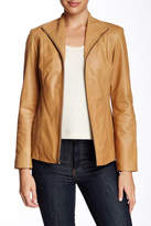 Cole Haan Flap Collar Genuine Leather Jacket