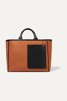 Valextra Shopping Two-tone Leather-trimmed Canvas Tote - Orange
