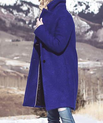 T Tahari Women's Car Coats LAPIS - Lapis Blue Montreal Boucle Wool-Blend Single Breasted Tessa Trench Coat - Women
