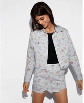 Express floral distressed cropped denim trucker jacket