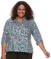 Dana Buchman Plus Size Pleated Peplum Shirt
