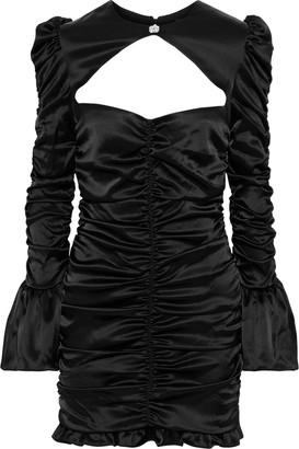 De La Vali Al Capone Cutout Ruched Satin-crepe Mini Dress