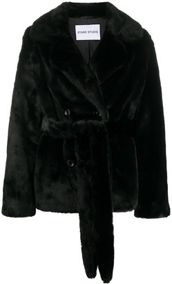 Stand Studio Faux Fur Belted Jacket