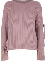 River Island Womens Purple ribbed knit eyelet tie sleeve sweater