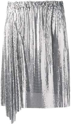 Paco Rabanne silver draped mini skirt