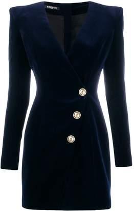 Balmain velour buttoned dress