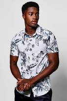 boohoo White Jungle Floral Print Short Sleeve Shirt white