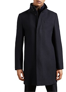 Ted Baker Wool Blend Funnel Neck Coat